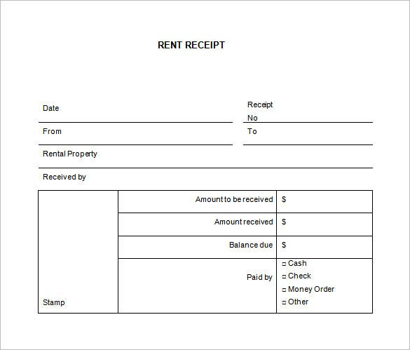 Rental Receipt Template   Free Word Excel Pdf Documents