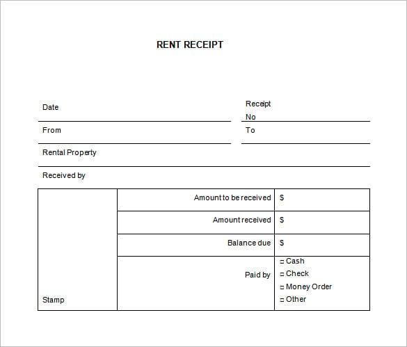 Rent Receipt Format Download – Rent Receipts Format