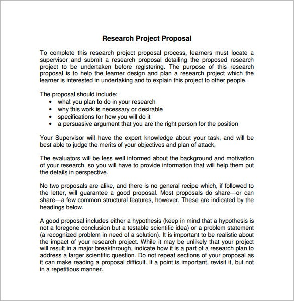How to write research proposal for a project