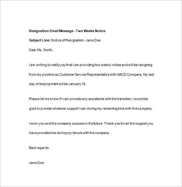 Elegant Resignation Email With Two Weeks Notice And Two Weeks Notice