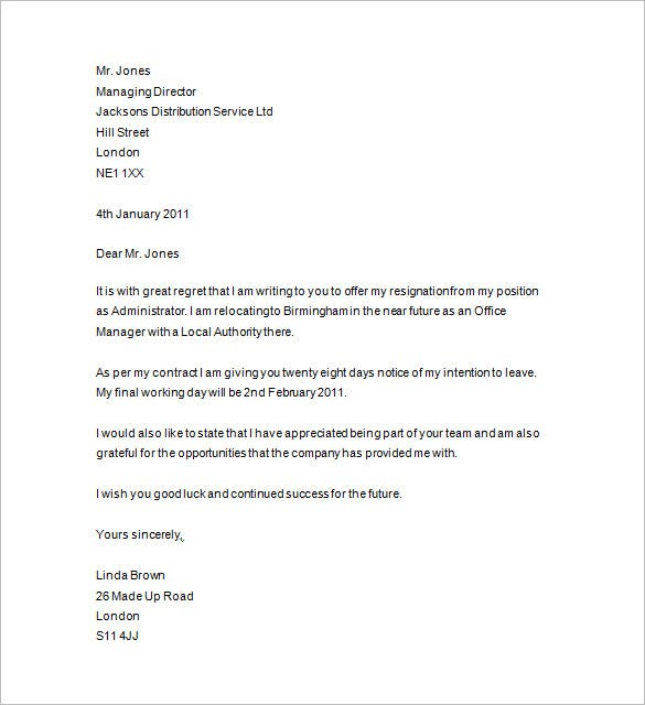 resignation letter with 28 days notice period