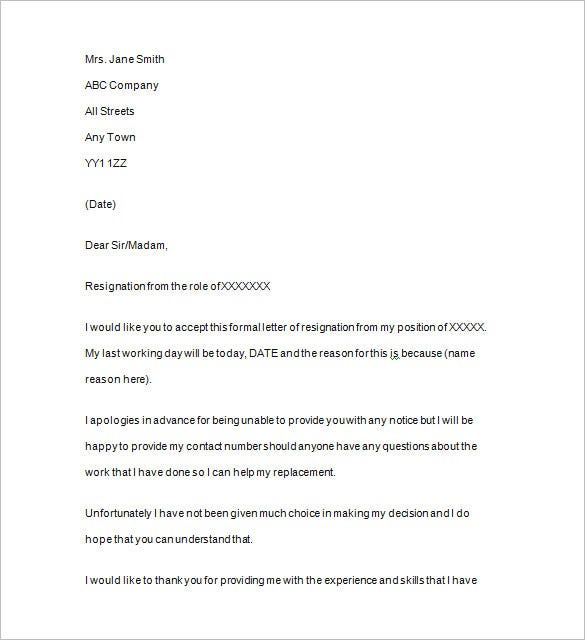 Resignation Notice Template 17 Free Samples Examples Format – Resignation Letter Without Notice