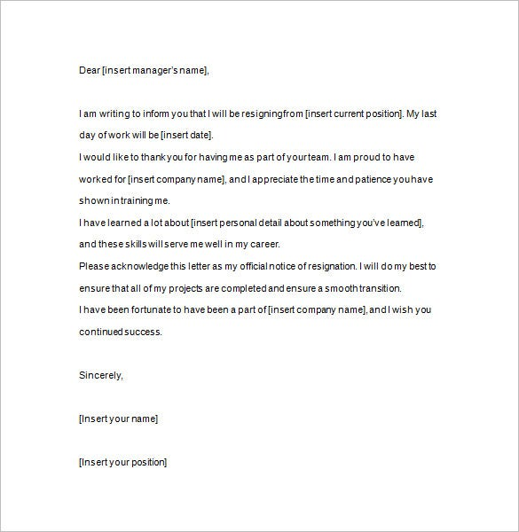 resignation notice example template