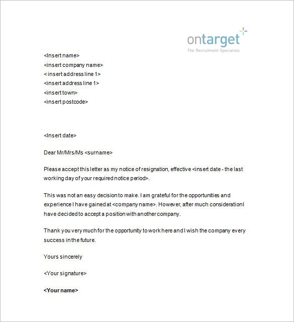 resignation notice template 12 free word excel pdf format