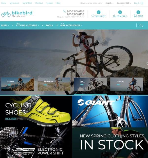 responsive bike store magento theme