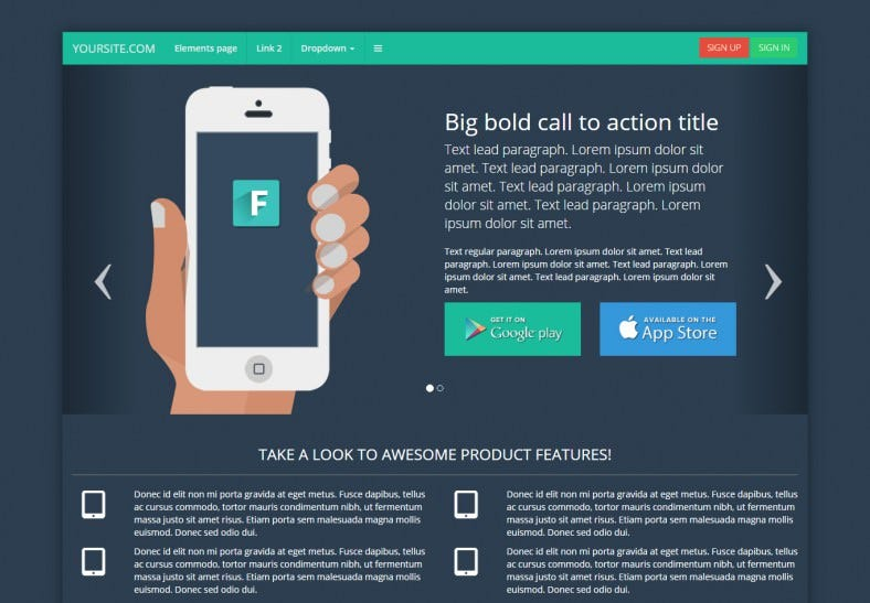 Responsive Bootstrap Flat Landing Page Template