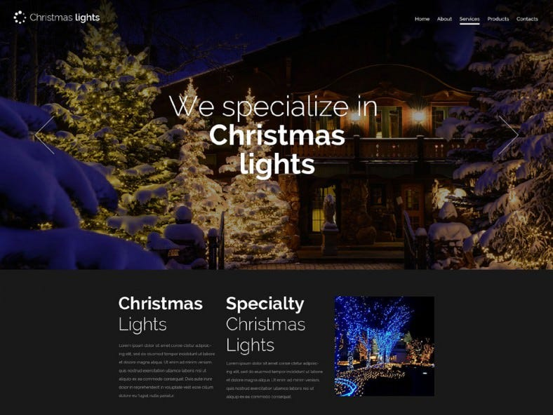 Responsive Christmas Dark Version Website Template