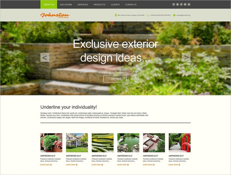 Responsive Exterior Design Muse Website Template