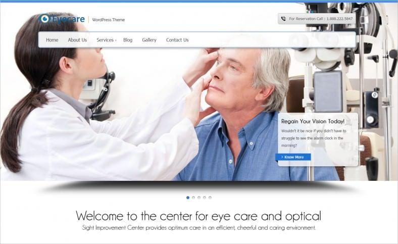 responsive eyecare wordpress template 788x483