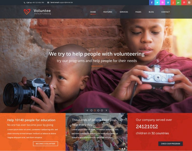 Responsive HTML Template for Charity