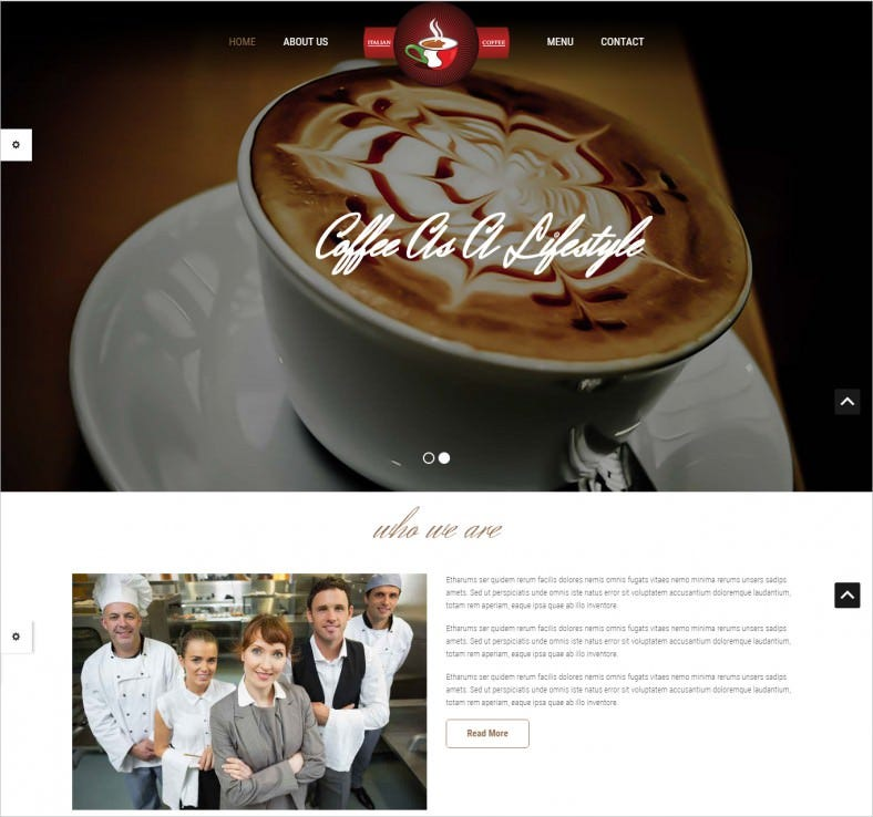 Responsive HTML5 and CSS3 Cafe Bar Templat