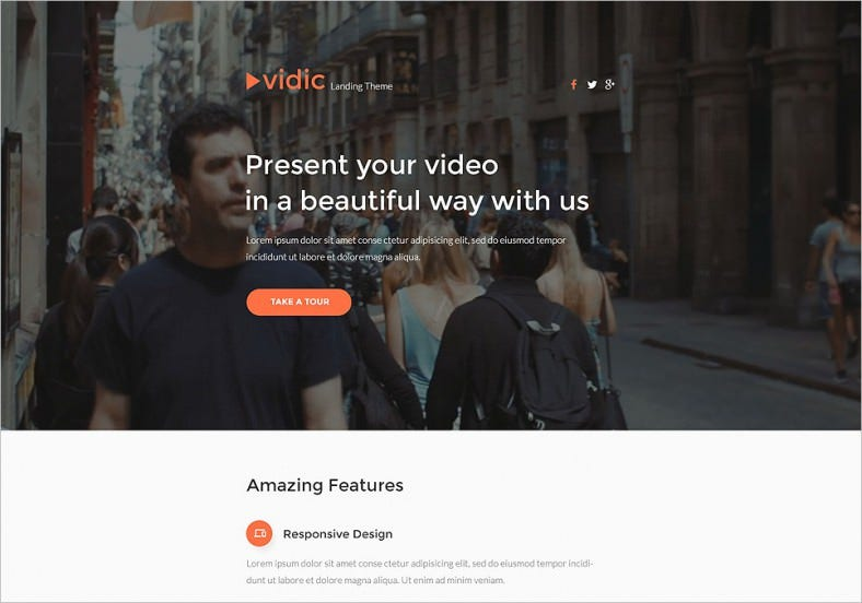 Responsive Landing Page Template for Video Gallery