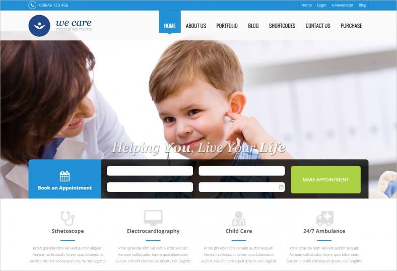 responsive layout medical wordpress theme 788x538