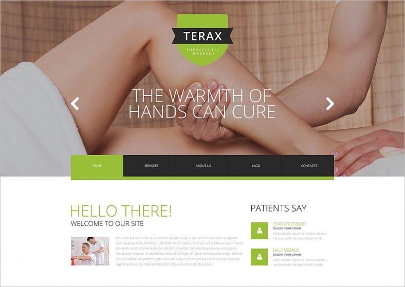 Responsive Massage Therapy Services Website Template