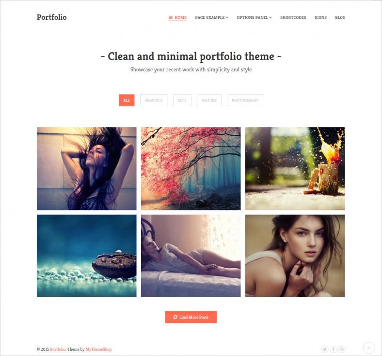 responsive minimal portfolio wordpress theme 788x734