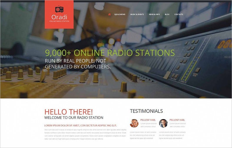 responsive moto cms html template for radio website 788x502