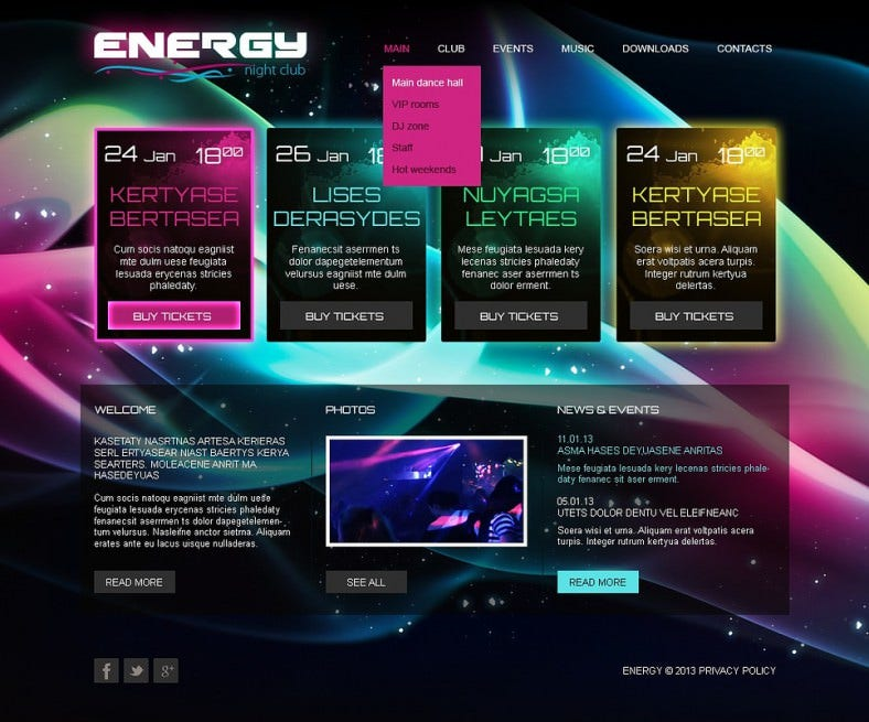 Responsive Night Club Website Template