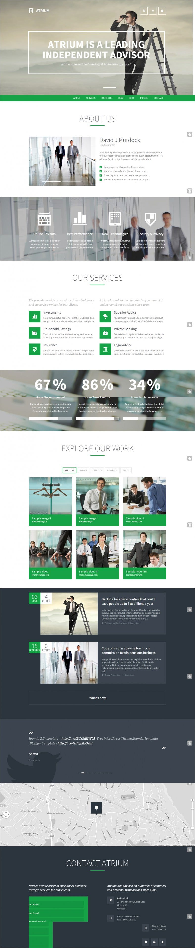 Responsive One Page Banking Joomla Template