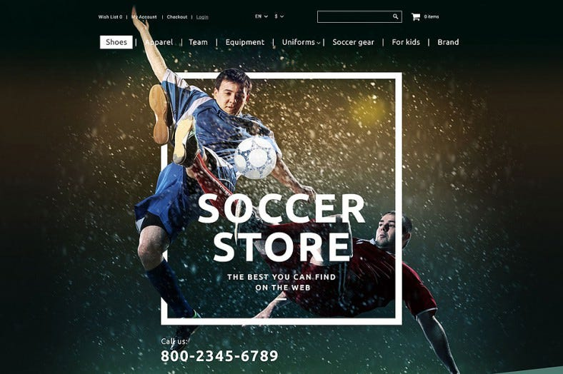 Responsive Sports Shop OpenCart Template