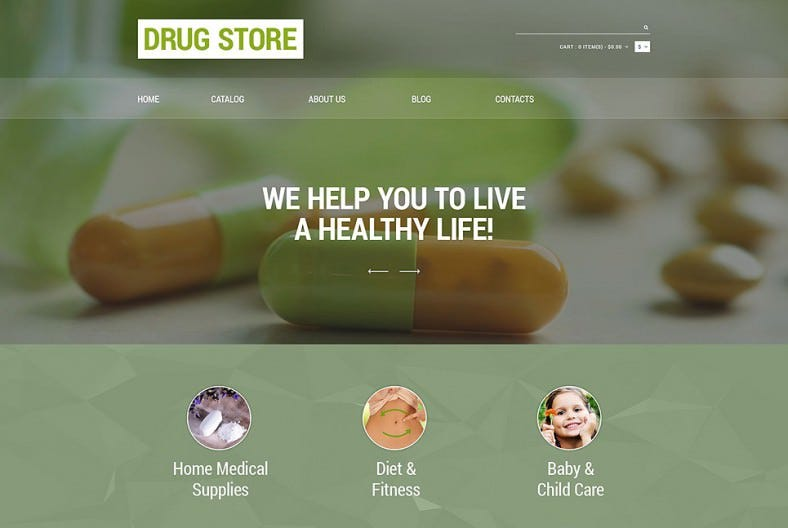 Responsive VirtueMart Template for Drug Store