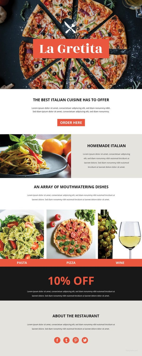 Restaurant Email Newsletter