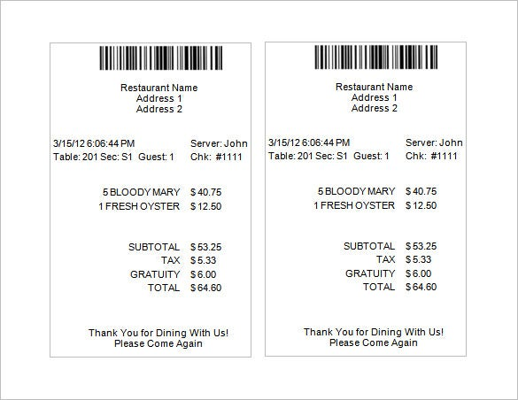 Restaurant Receipt Template 5 Free Word Excel PDF Format – Receipt Samples