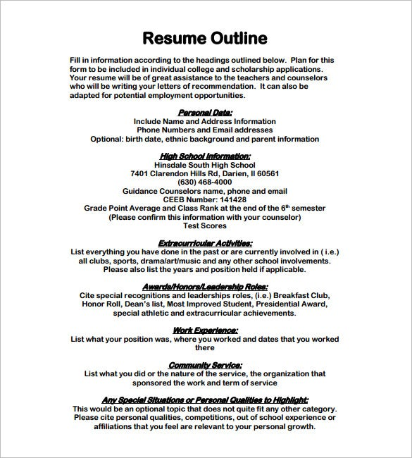 outline of a resume