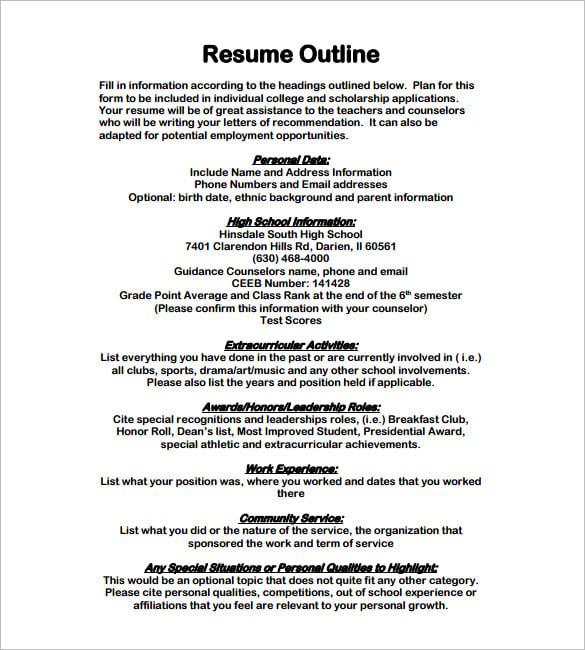 job resume outline
