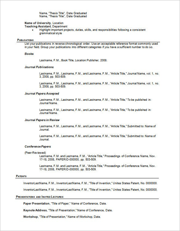 Resume Outline Template – 13+ Free Sample, Example, Format Download ...
