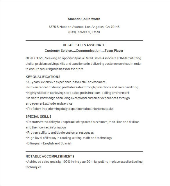 9 retail resume templates doc pdf free premium for Sample resume for sales associate and customer service