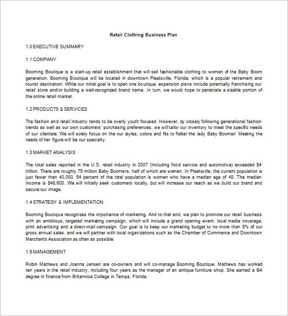 retail clothing business plan free download