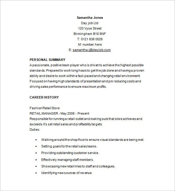 Resume Resume Sample Retail Job retail resume template 10 free samples examples format management example
