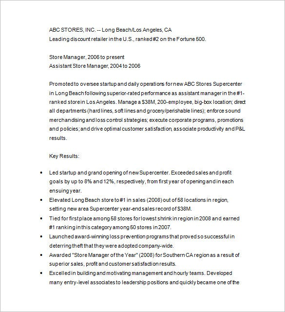 retail manager resume template. Resume Example. Resume CV Cover Letter