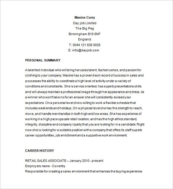 retail sales associate resume sample - Retail Resume Template