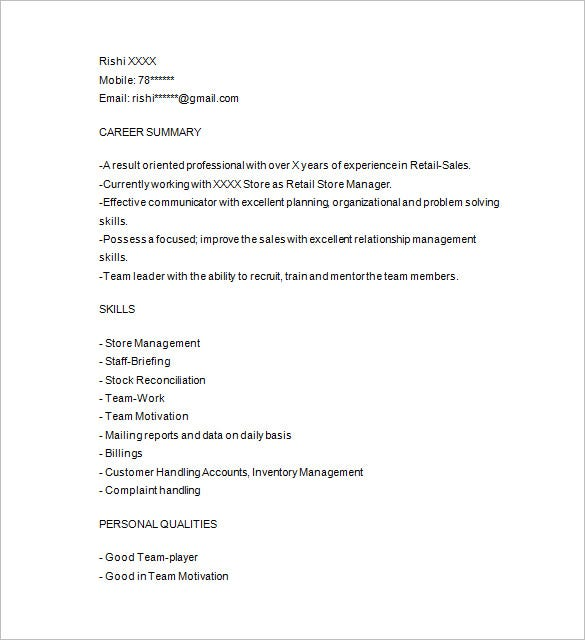 Retail Resume Template   Free Samples Examples Format Download