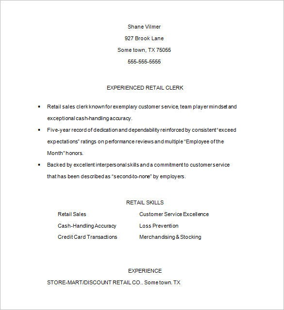 retail sample resume word download free download