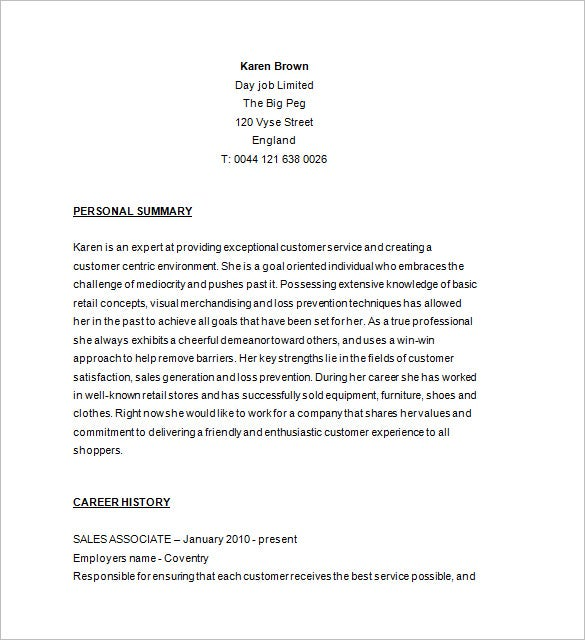 retail store associate sample resume free download - Sales Resume Templates Free