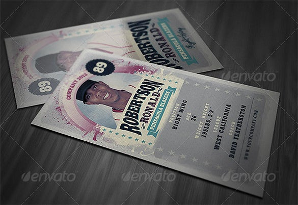 retro baseball card psd template download
