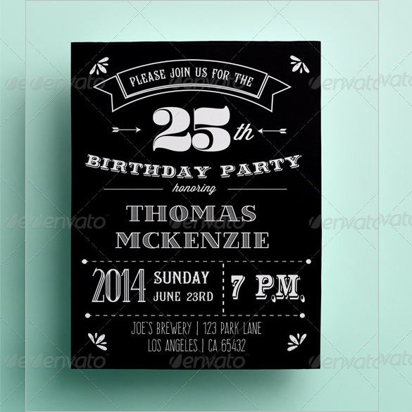 Retro Black And White Birthday Invitation Card