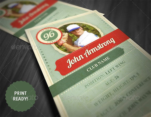 retro style sport trading card template 6