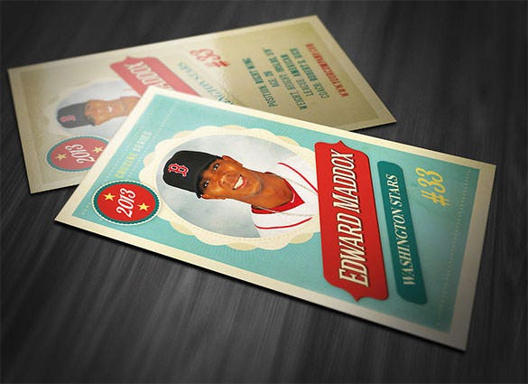 retro trading card template psd design