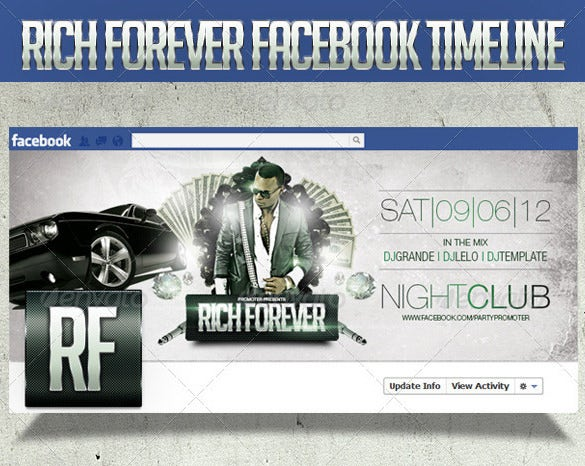 rich forever timeline cover psd template 2