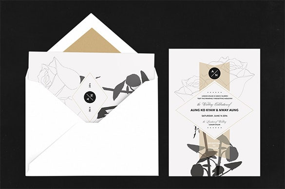 rose invitation card template ai design