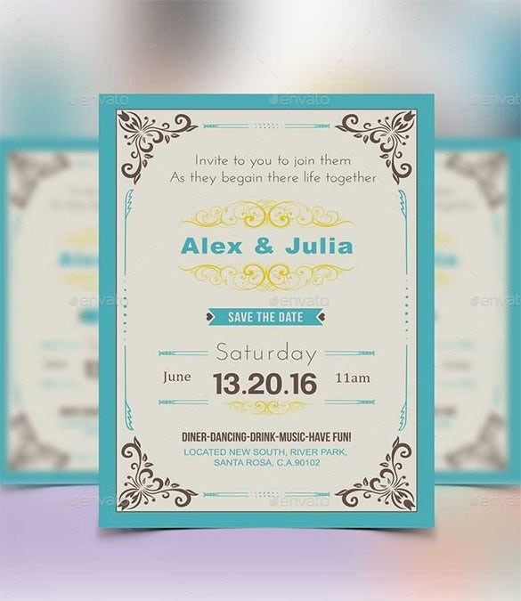 Amazing Royal Wedding Invitation Card PSD Sample Download Within Invitation Card Formats