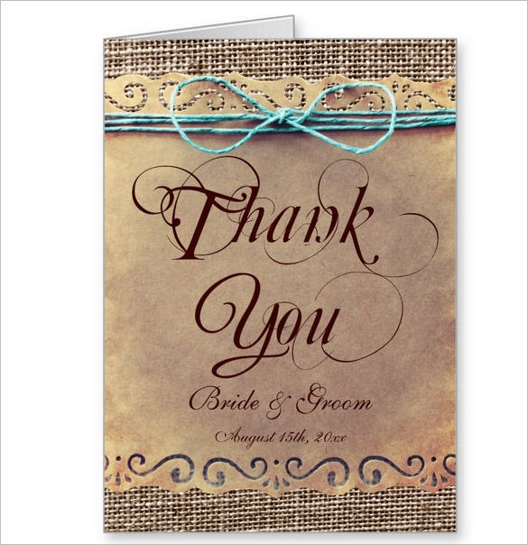 rustic country vintage wedding thank you card
