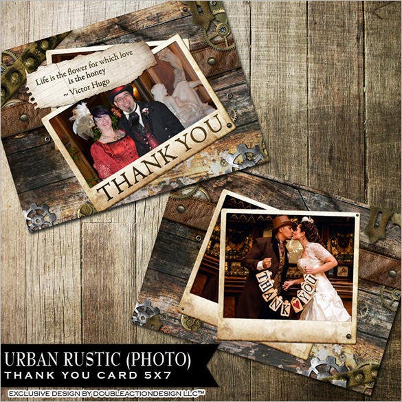 rustic photo thank you photo card