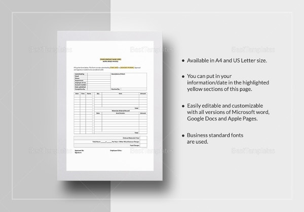 Sample Work Order Invoice Template