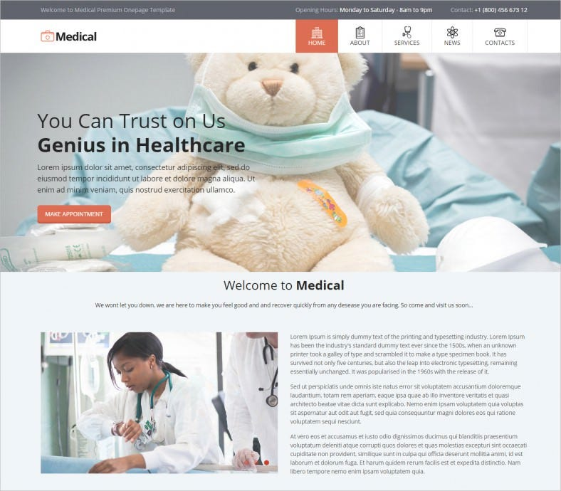 seo friendly html5css3 medical center one page template 788x690