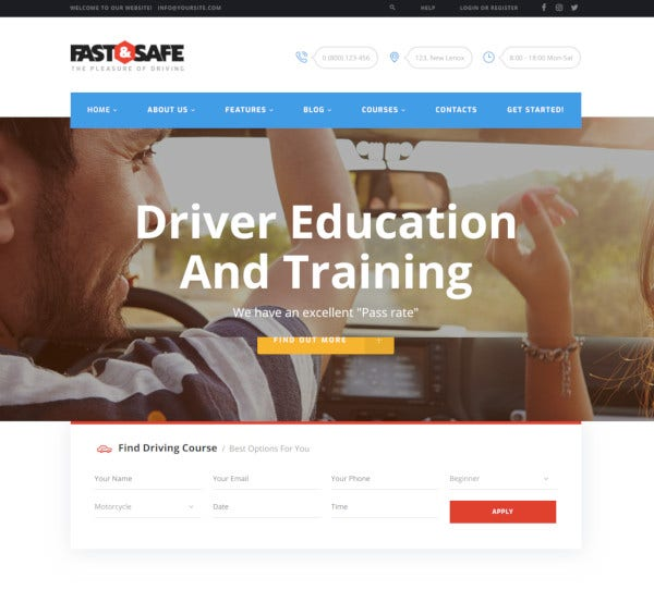 safe driving school wordpress theme