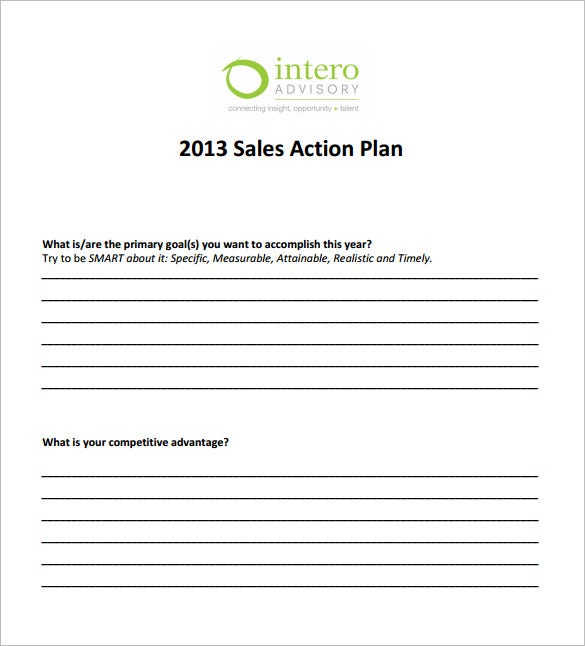 sales action plan template word pdf download